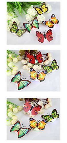 Pansupply 10 Pcs/Lot Color Changing Butterfly LED Night Light with beautiful box for home decoration (Tampon Halloween Costume)