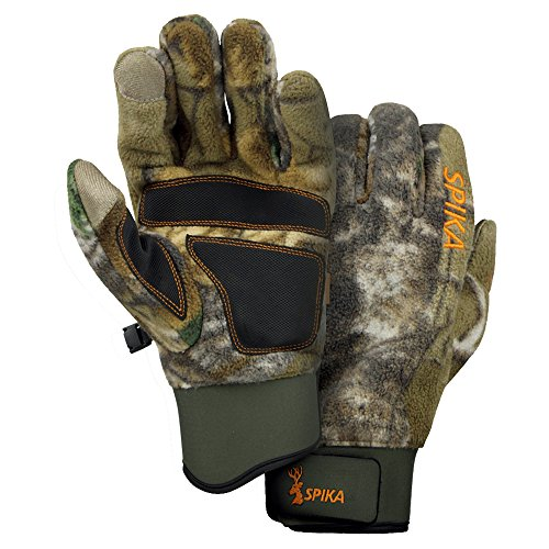 SPIKA Camouflage Tactical Hunting Fleece Gloves with Sure Grip Palms and Touchscreen Compatibility S-M