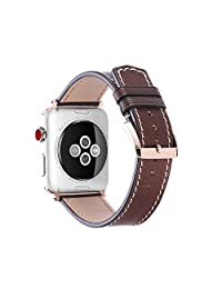For Apple Watch Bands 42mm 38mm, Genuine Calf Leather fit iWatch & Sport & Edition Series 3/2/1 Super Soft Strap Gold Adaptor Rose Gold Pin Buckle for Women and Men