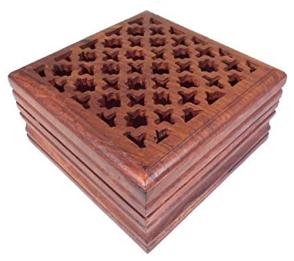 Caja de madera tallada - para joyas, recuerdos, cartas de ...