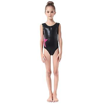 39365f1cd Dkhsy Little Girls Shiny Gymnastics Leotards, Metallic Ballet Dance Bodysuit  Star Performance Costumes 2-