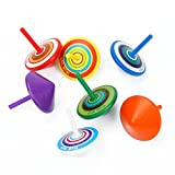 Uspeedy 7 PCS Wood Spinning Top, Multicolor Handmade Painted Wood Spinning Tops Wooden Toys for Children and Adult (Multicolor)