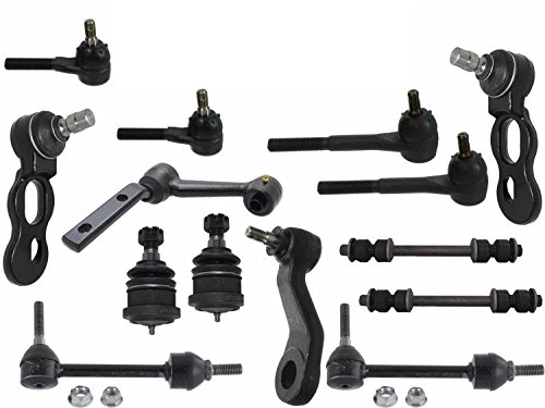 PartsW 14 Pcs Front Upper Lower Ball Joints Rear Sway Bar Link Pitman Arm Idler Arm Inner Outer Tie Rod Ends