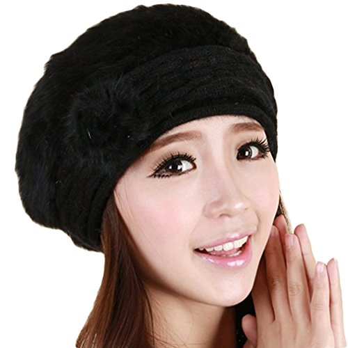 CARVIAN Women Winter Warm Soft Beanie Protective Ear Rabbit Hair Knit Beret Hat Cap Black