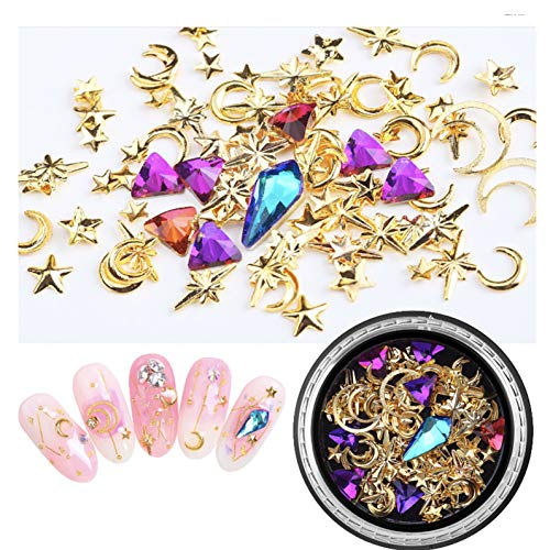 (GreatDeal68 Japanese Popular DIY Nail Art Star Moon gems Jewelry Mixed Box Set Copper Plate Round Rivet Sequin Nail Ornament (#2))