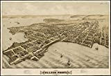Historic Map | View of College Point, L.I : 1876 | Antique Vintage Reproduction