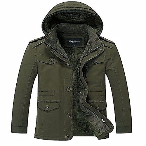 Vintage Polyester amp; Parka Gothic Men's Street Sports Outdoor Chic Out Cotton Punk Hooded ZHUDJ Long Regular Winter Army Green amp; Going Fall Solid Sleeves Yx16dPn
