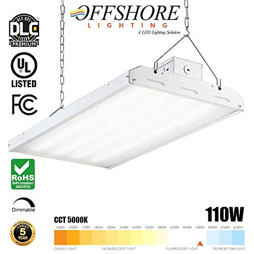 - LED Linear HighBay Light Fixture 110 Watt 2FT Dimmable 5000K CCT 14410 Lumen, (400W Metal Halide HID Replacement),UL and DLC 4.3 Premium Listed, 5 Years Warranty - by Offshore Lighting