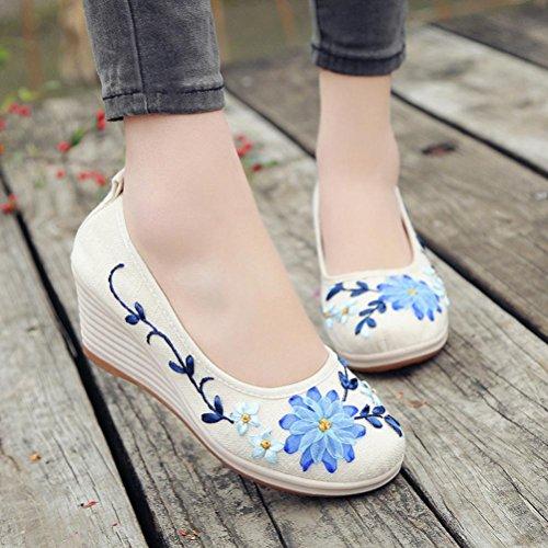 Estilo Bordada Zapatillas Mujer Zapatos Blanco y Zapatos Cordones de Nacional de Costilla de con Informal Lino Logobeing qSvITwT