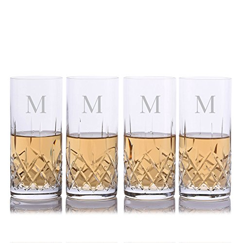 (Personalized Crystalize Cut Crystal Highball Cocktail Glass w/Titanium 4pc. Set by Crystalize Engraved & Monogrammed - Perfect Groomsmen Gift or for Your Home Bar)