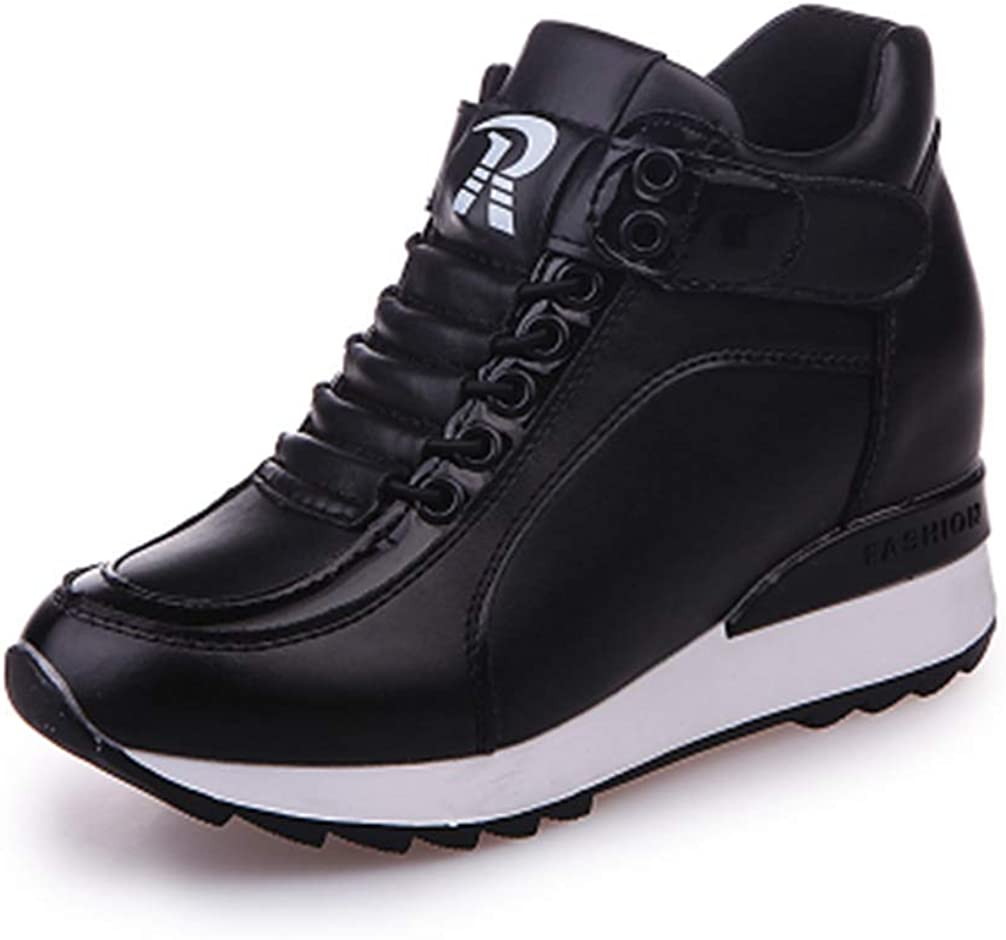 Yakoya Ladies Autumn Fashion Casual Wedge Pu Leather Shoes Height Increasing Platform Sneakers Women