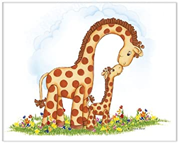 Amazoncom Jungle Art Mom And Baby Giraffe Childrens Wall Art