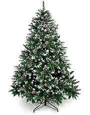 Yorbay - Árbol de Navidad Artificial Natural de Blanco Nevado, Incluye Las Piñas y Soporte Metal, para Decoración Navideña