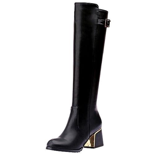 d8bae327219 Jamron Women's Elegant PU Leather Mid Heel Knee High Zip Boots Warm Winter  Boots with Adjustable