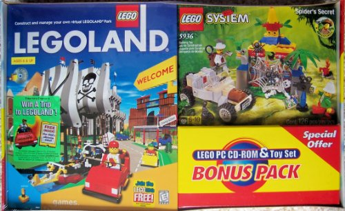 LEGO PC CD-ROM Bonus Pack: LEGOLAND Theme Park Video Game plus Adventurers 5936 Spider's Secret