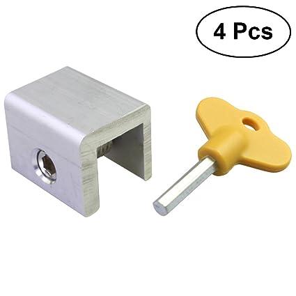 OUNONA - 4 cerraduras Ajustables para Ventanas correderas de Aleación de Aluminio, Marco de Seguridad