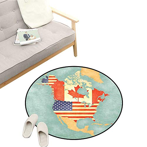(World Map Modern Area Rug States and Canada Outline Map of The North America in Grunge Stylized Soft Colors Easy to Clean D39 Multicolor)