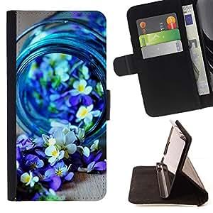 For Samsung Galaxy S6 EDGE (NOT S6) Case , Blue Spring Blooming Naturaleza Purple- la tarjeta de Crédito Slots PU Funda de cuero Monedero caso cubierta de piel