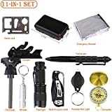 Emergency Survival Gear Kit, 11 in 1 Outdoor Survival Security Equipment Tool with Fire Starter Whistle Survival Knife Flashlight Tactical Pen etc for Hunting Biking Climbing Traveling Camping