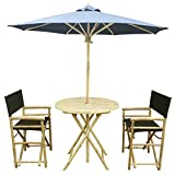 Zew 4-Piece Bamboo Outdoor Bistro Patio Set with Round Table, 2 Comfortable Canvas Chairs and Umbrella, Black Review