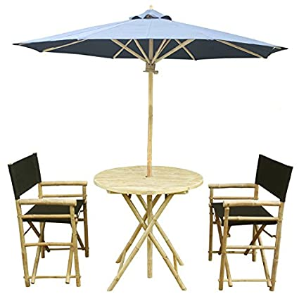 Peachy Zew 4 Piece Bamboo Outdoor Bistro Patio Set With Round Table 2 Comfortable Canvas Chairs And Umbrella Black Home Interior And Landscaping Staixmapetitesourisinfo