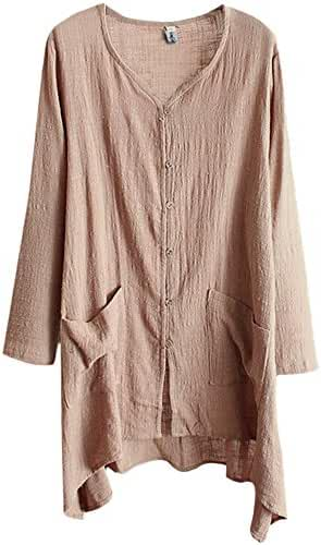 Najia Symbol Womens Casual V Neck Buttons up Linen Plus Size Long Blouses