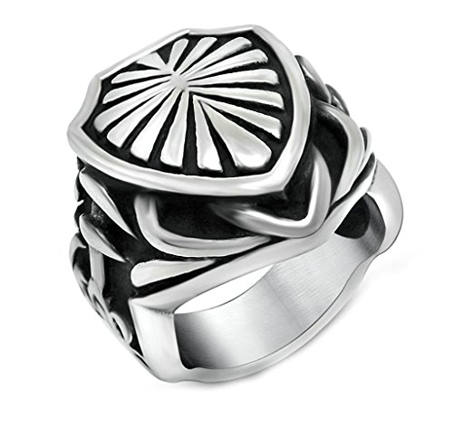 ANAZOZ Stainless Steel Mens Rings Black Silver Palm Leaf Fan Shield Shaped Rings Rings Band Size 8