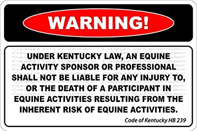 "Warning Under Kentucky Law. 8"" x 12"" Metal Novelty Sign Aluminum NS 718"