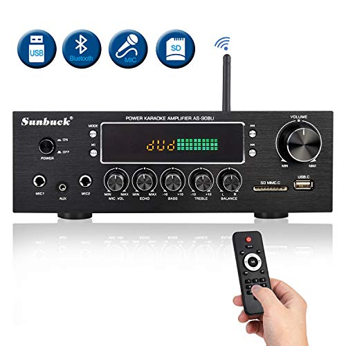 Wireless Bluetooth Home Audio Amplifier – 400W Dual Channel Home Theater Sound Compact Stereo Receiver System w/FM Radio, USB/SD, AUX, RCA, Mic in, Remote Control for Sweet Sound. (Sunbuck AS-90BU)