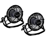 iMBAPrice(Pack of 2) 4'' Quiet USB Mini Desktop Plastic Fan with ON/OFF Switch - Black
