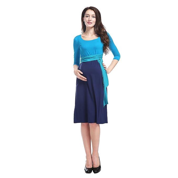 Azul cielo azul Top Blue Skirt Maternidad de enfermería Summer Skater vestido de manga larga DS911