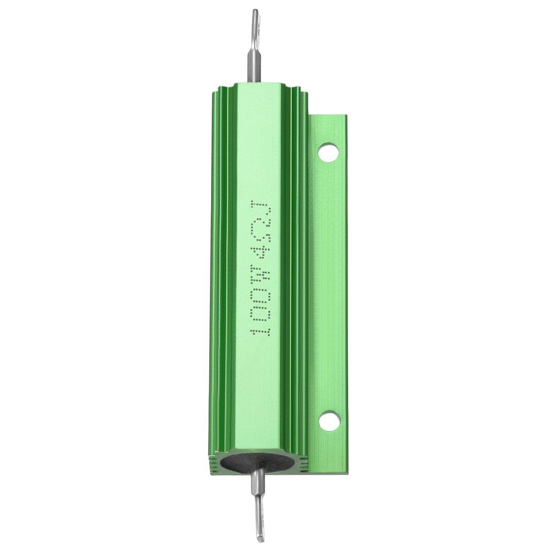 /2/pezzi di alluminio resistore 100/W 4/Ohm a filo verde per LED di ricambio converter 100/W 4RJ Sourcingmap/