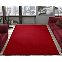 Ottomanson Soft Cozy Color Solid Shag Area Rug Contemporary Living and Bedroom Soft Shag Area Rug, Red, 53 L x 70 W