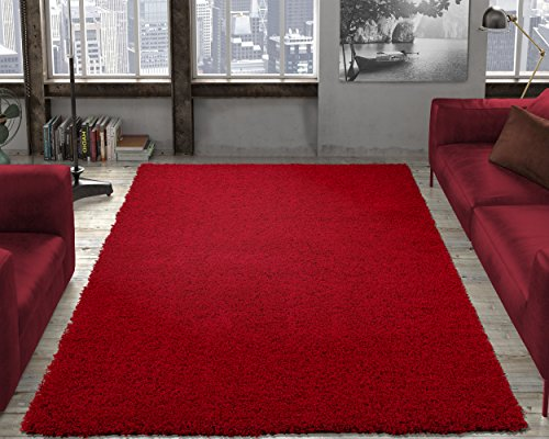 Soft Cozy Red Color Solid Shag Rug 5X7 Contemporary Living and Bedroom Soft Shaggy Area Rug]()