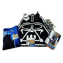Star Wars Bathroom Set, Shower Curtain, Hooks, Bath Rug, Bath Towel, Pump Lotion, Toothbrush Holder (Navy Star Wars Block)