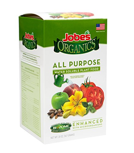 Jobe's Organics All Purpose Fertilizer 5-2-3 Water Soluble Plant Food Mix with Biozome, 20 oz Box Makes 60 Gallons of Organic Liquid Fertilizer