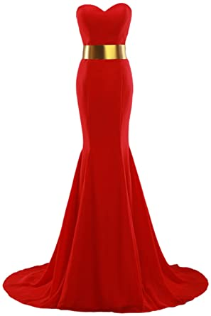 Callmelady Mermaid Red Carpet Dresses Trumpet Prom Dress Long Celebrity Evening Gowns (Red, UK6