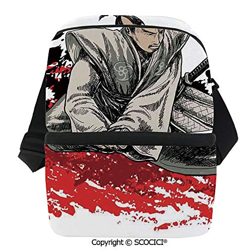 SCOCICI Collapsible Cooler Bag Warrior Holding a Katana in Ninja Clothes on Grunge Background Ancient Battle Theme Insulated Soft Lunch Leakproof Cooler Bag for Camping,Picnic,BBQ