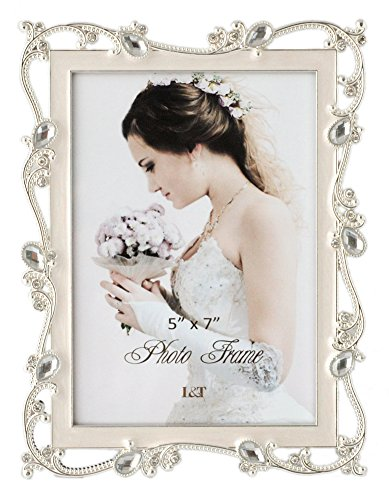 (L&T Metal Picture Frame Silver Plated with Cream White Enamel and Jewels 5x7 Inch, Ideal Anniversary Wedding Mother's Day Gift Photo Frame)