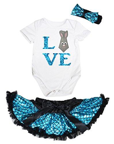 Petitebella Happy Easter Black Romper Gold Scales Mermaid Baby Skirt Nb-12m