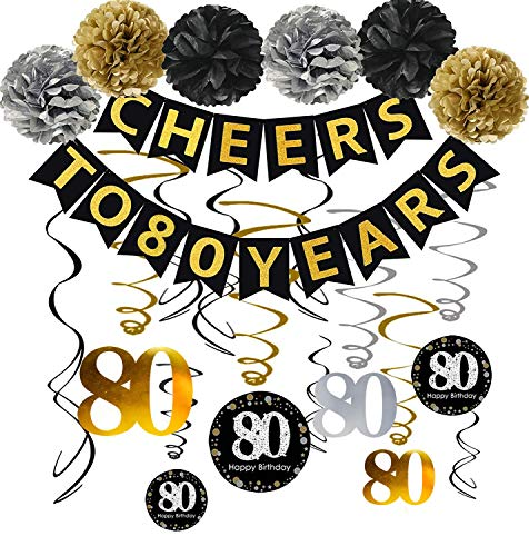 80th Birthday Party Decorations Kit - Gold Glittery Cheers to 80 Years Banner,Poms,12Pcs Sparkling 80 Hanging Swirl for 80th Anniversary Decorations 80 Years Old Party Supplies -