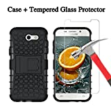 For J3 Eclipse, J3 Mission, J3 Emerge, Express Prime 2, Amp Prime 2, J3 Prime, Samsung Galaxy J3 2017, J3 Luna Pro, Sol2, Screen Protector and Case with Stand [Tempered Glass + Black Kickstand Cover]