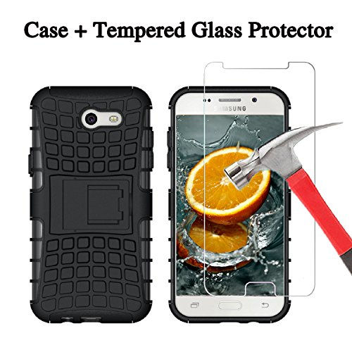 For J3 Eclipse, J3 Mission, J3 Emerge, Express Prime 2, Amp Prime 2, J3 Prime, Samsung Galaxy J3 2017, J3 Luna Pro, Sol2, Screen Protector and Case with Stand [Tempered - Costco Glasses At