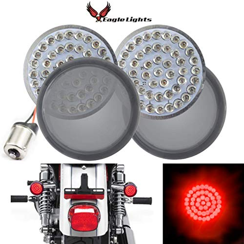 Eagle Lights 2 inch Red Rear LED Turn Signals For Harley Davidson Rear (1156) Turn Signals, Add Smoked Lenses
