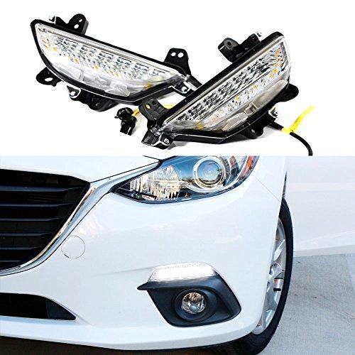 iJDMTOY Exact OEM Fit 22-LED High Power Switchback LED Daytime Running Lights/Turn Signal Lamps For 2014-2016 Mazda 3 Axela, White/Amber