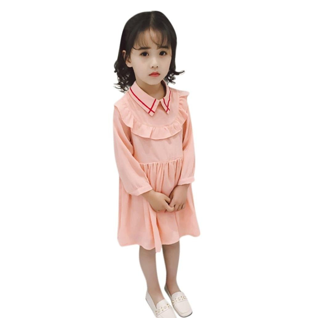 Toddler Baby Girl Clothes Sets for 12 Months-5T Clearance,Lovely Onesies Long Sleeve Ruffle Skirt Princess Dress Outfits (24Months-3T, Pink)