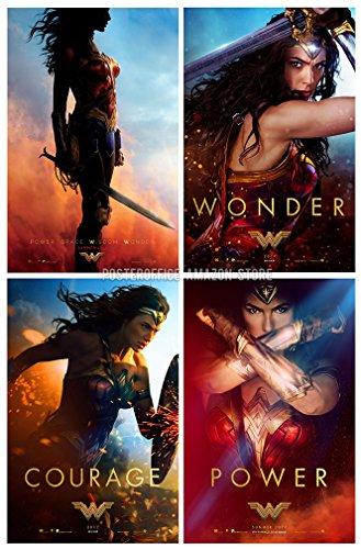 Wonder Woman 2017 Set of 4 – Advance 11 x17 Collector s Poster Prints and the Bonus WW Metallic Print Courage, Wonder, Power. Each print is 11 x17 full bleed no white border .