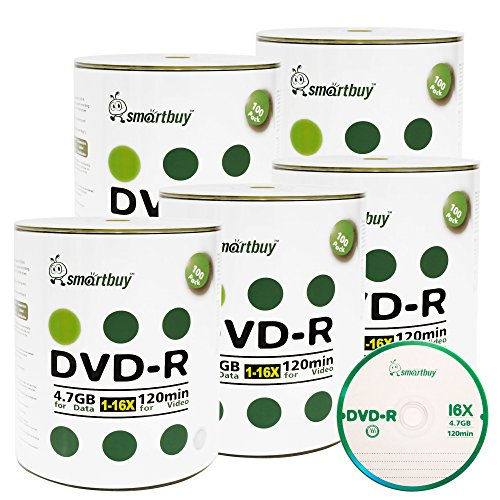 Smart Buy 500 Pack DVD-R 4.7gb 16x Logo Blank Data Video Movie Recordable Disc, 500 Disc 500pk by Smart Buy