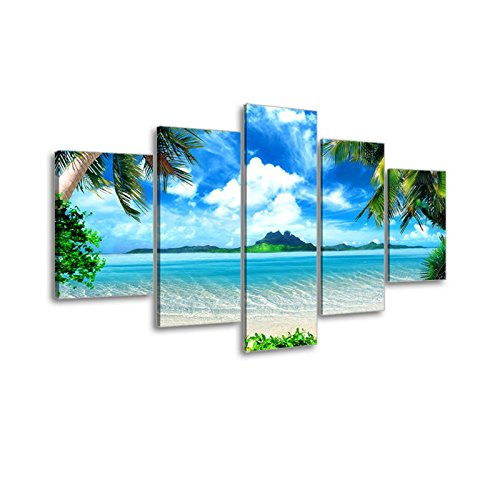 Beach Pictures Wall Art for Living Room Dark Blue, Bracket Fixed, 1 Deep Premium Frame, Waterproof SZ 5 Piece Seascape Canvas Prints of Tropical Palm Tree and Caribbean Island Sandy Seaside