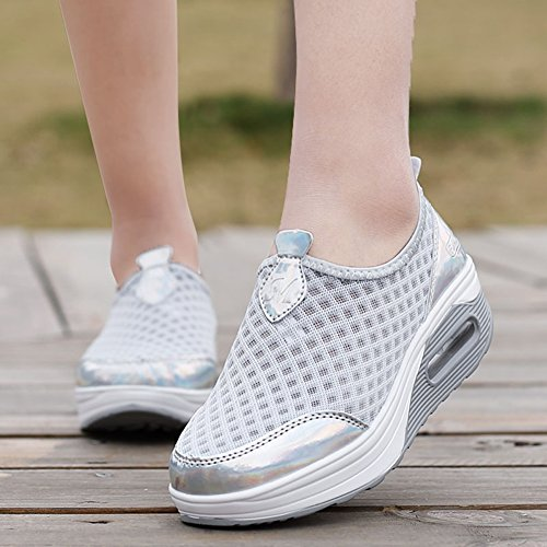 Lightweight Women's Comfort Wedge ZYEN On Casual Sneakers Breathable Grey Platform Slip Loafers 7663 Walking Shoes d5qIY